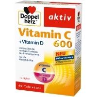 ДОПЕЛХЕРЦ АКТИВ Витамин Ц 600 мг. + D3 табл х 40 5,90 лв. от Vitania.bg