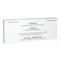 ТЕТАНИЧЕН ТОКСОИД Тетатокс 0.5МЛ X 10 12,50 лв. от Vitania.bg